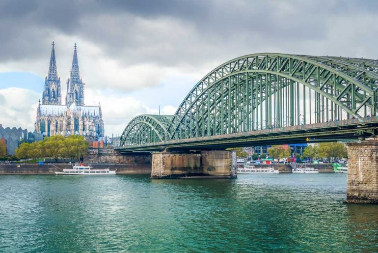 Hohenzollen Bridge and Cologne Cathedral places to visit on a weekend in Cologne Germany