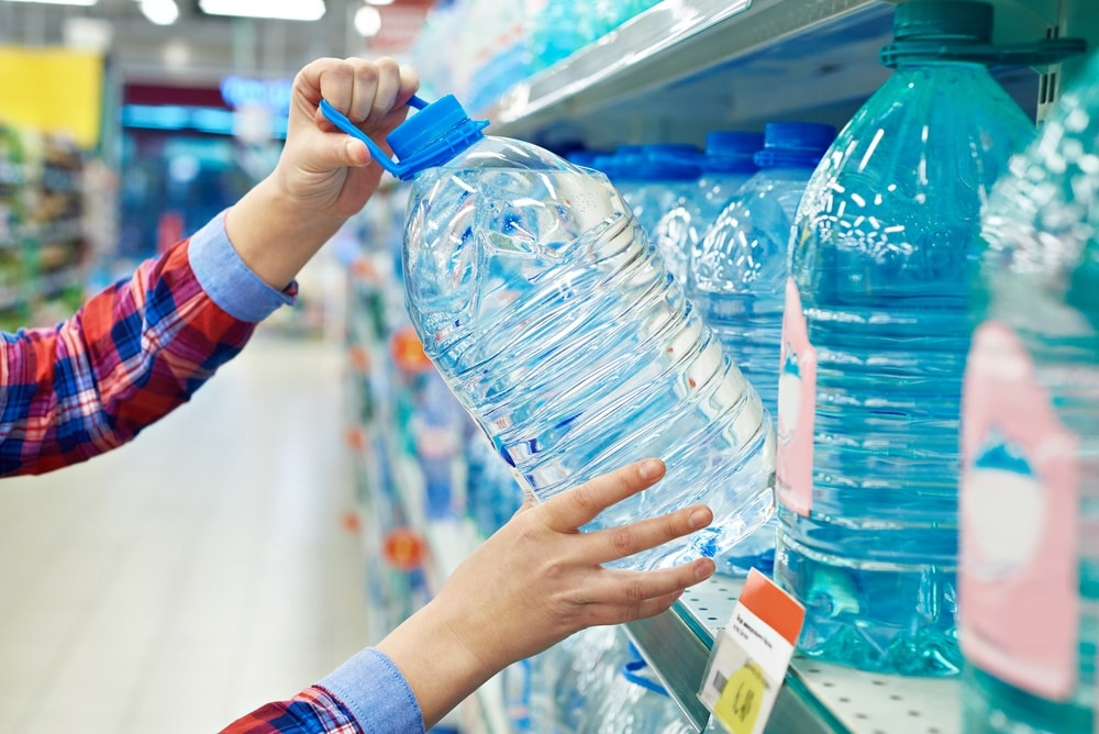 Buying plastic water bottles for drinking