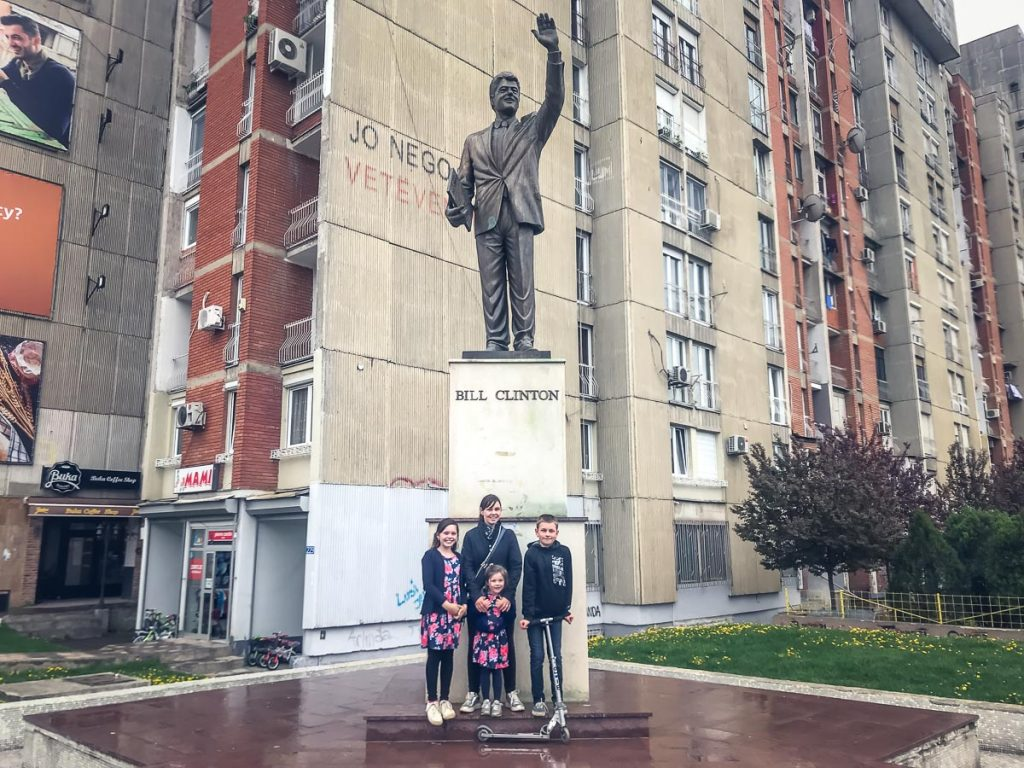 Travelling in Kosovo - Bill Clinton Statue