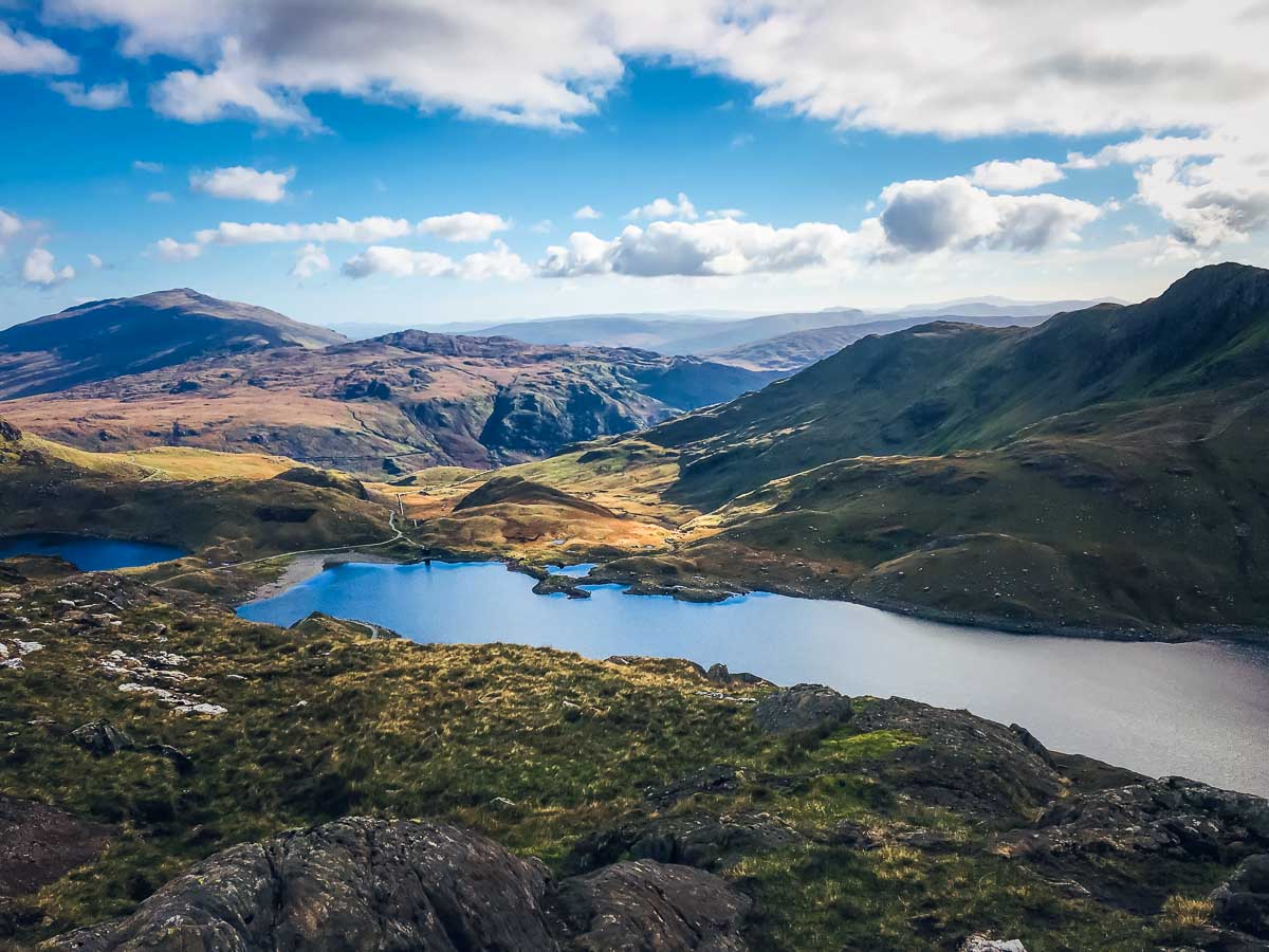 View of the lakes from Mount Snowdon