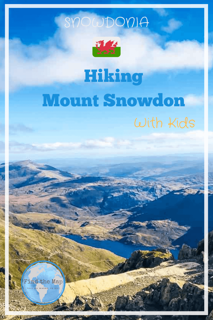 The views are outstanding on a clear day you can see all the way to the Peak District in England.  Hiking Snowdon with kids is achievable if your prepared. Visit Snowdonia on your next family holiday.  #Wales #Snowdonia #Hiking #FindtheMapandGo